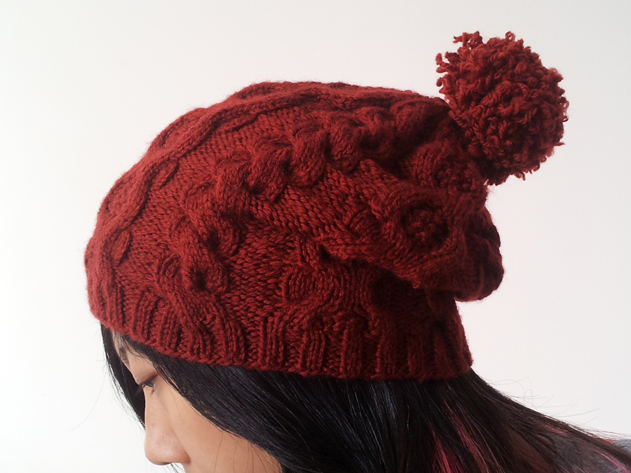 Free Knit Beanie Pattern : Pretty Quirky Pants DIY Cabled Slouch Beanie - Free Pattern