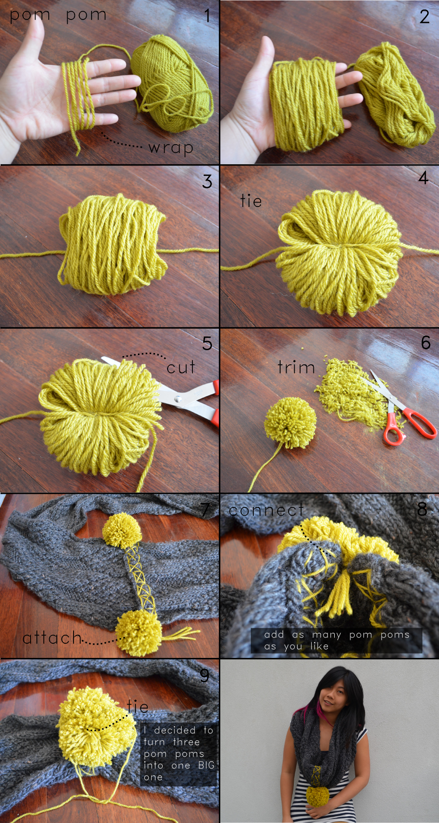 pretty quirky pants diy cowl scarf pom pom. Black Bedroom Furniture Sets. Home Design Ideas
