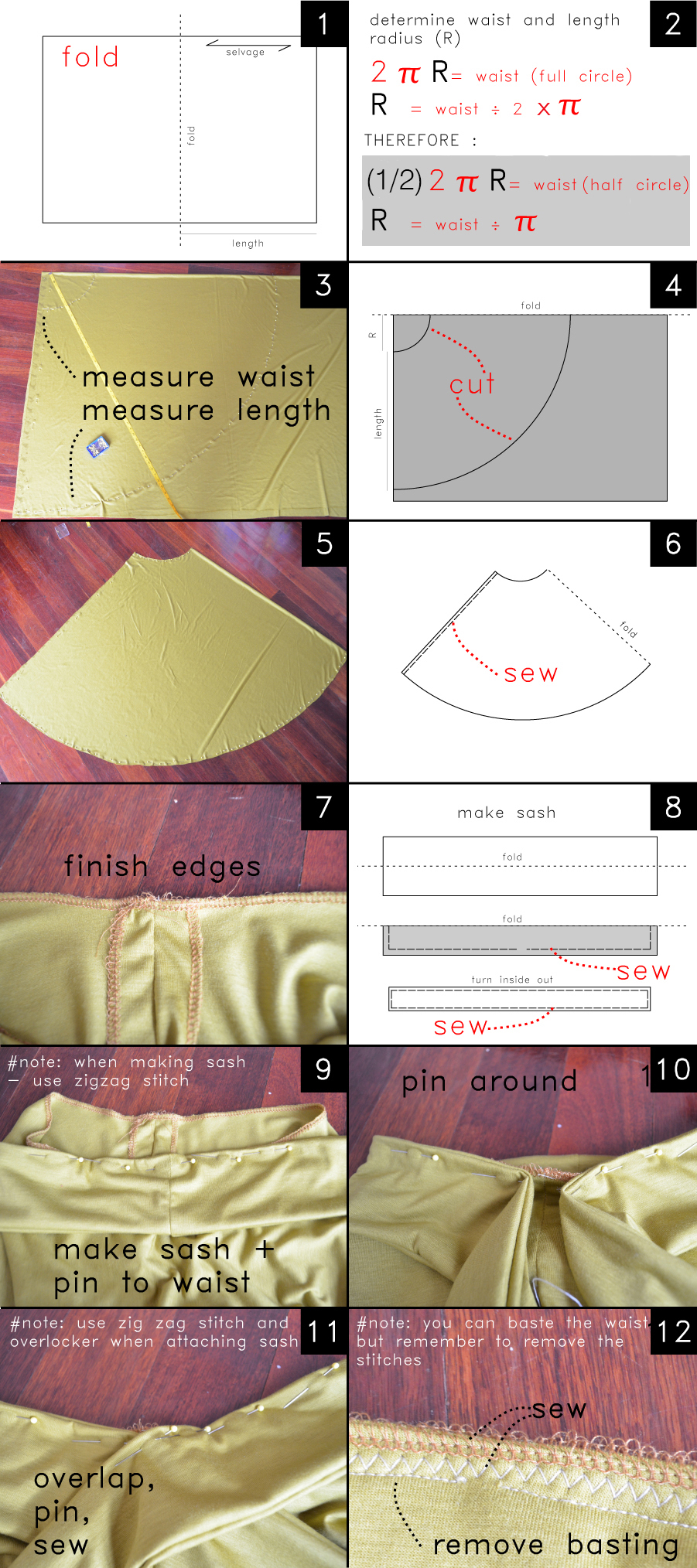 STRETCH CIRCLE skirt Instructions