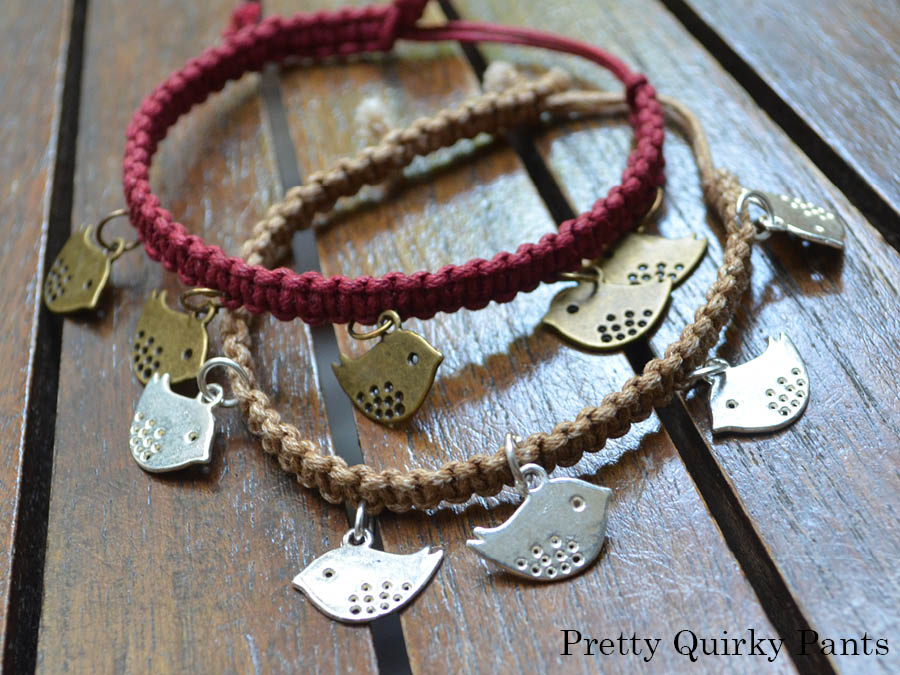 pretty diy charm macrame bracelet