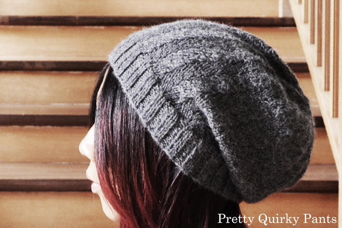 Pretty Quirky Pants Diy Herringbone Slouch Knit Beanie Free Pattern