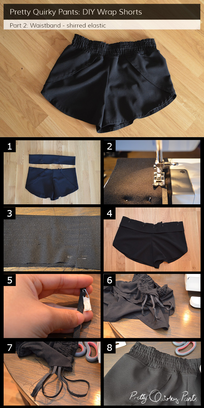 Instruction Layout - wrap shorts shirred waist