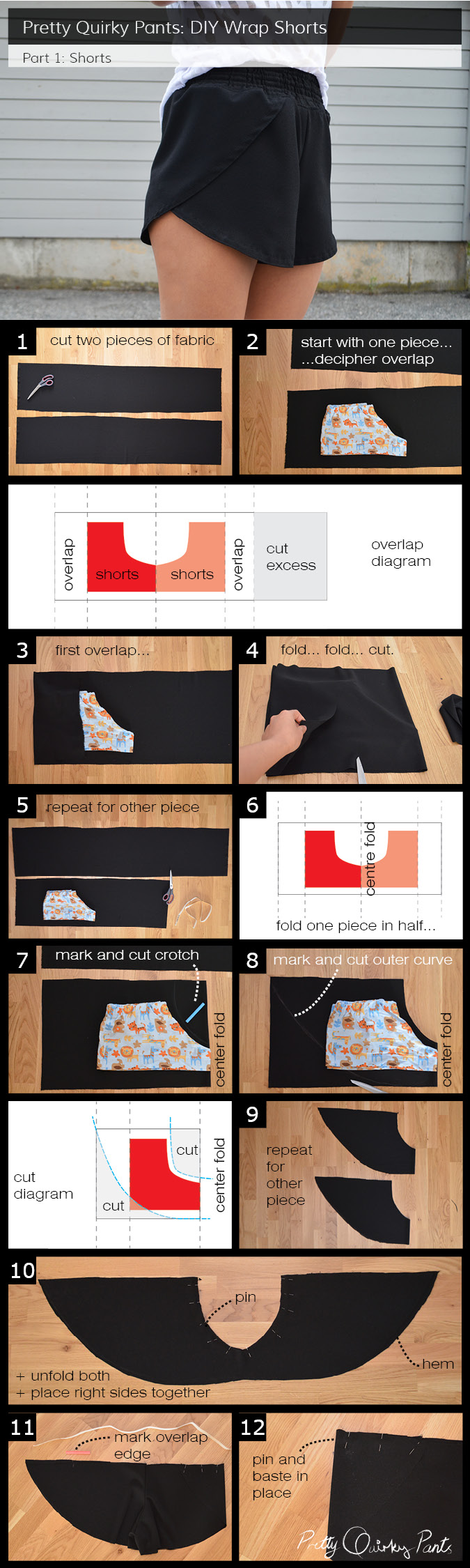 Instruction Layout - wrap shorts