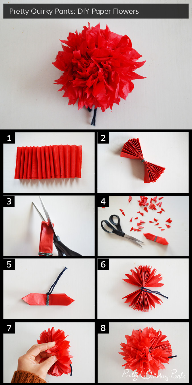 Pretty quirky pants diy paper flowers instruction layout crepe paper flower pom pom mightylinksfo