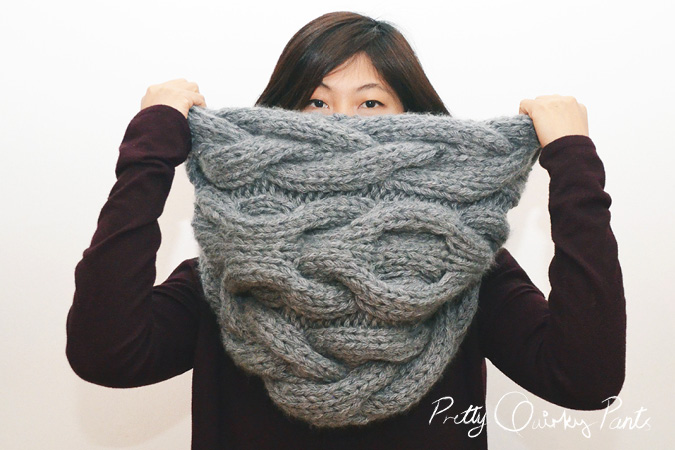 Knitting Scarf Patterns Infinity Scarf : Pretty quirky pants diy infinity cable knit scarf