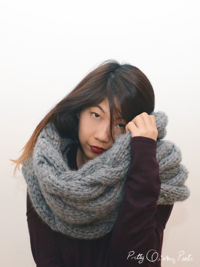Cable Knit Infinity Scarf Knitting Pattern : Pretty Quirky Pants DIY Infinity Cable Knit Scarf