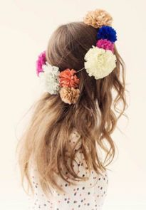 pom pom paper flower hair garland