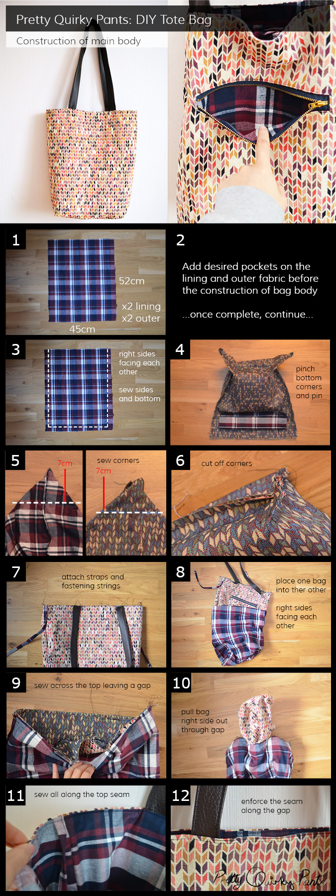 Instruction Layout - tote bag body