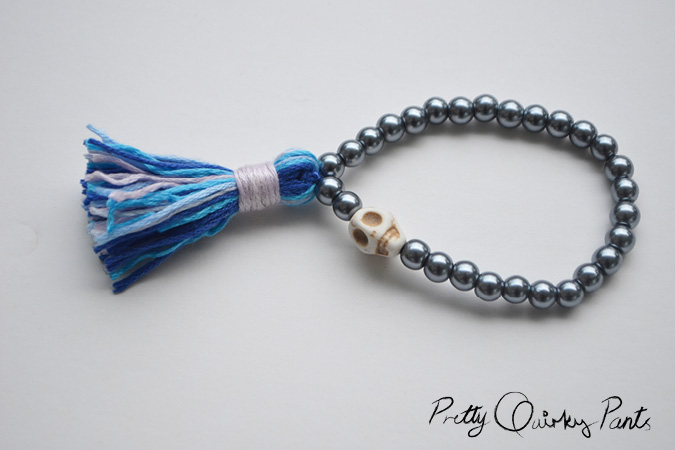 diy stretch bead tassle bracelet