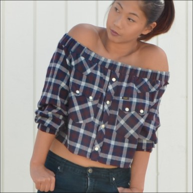 off shoulder plaid top