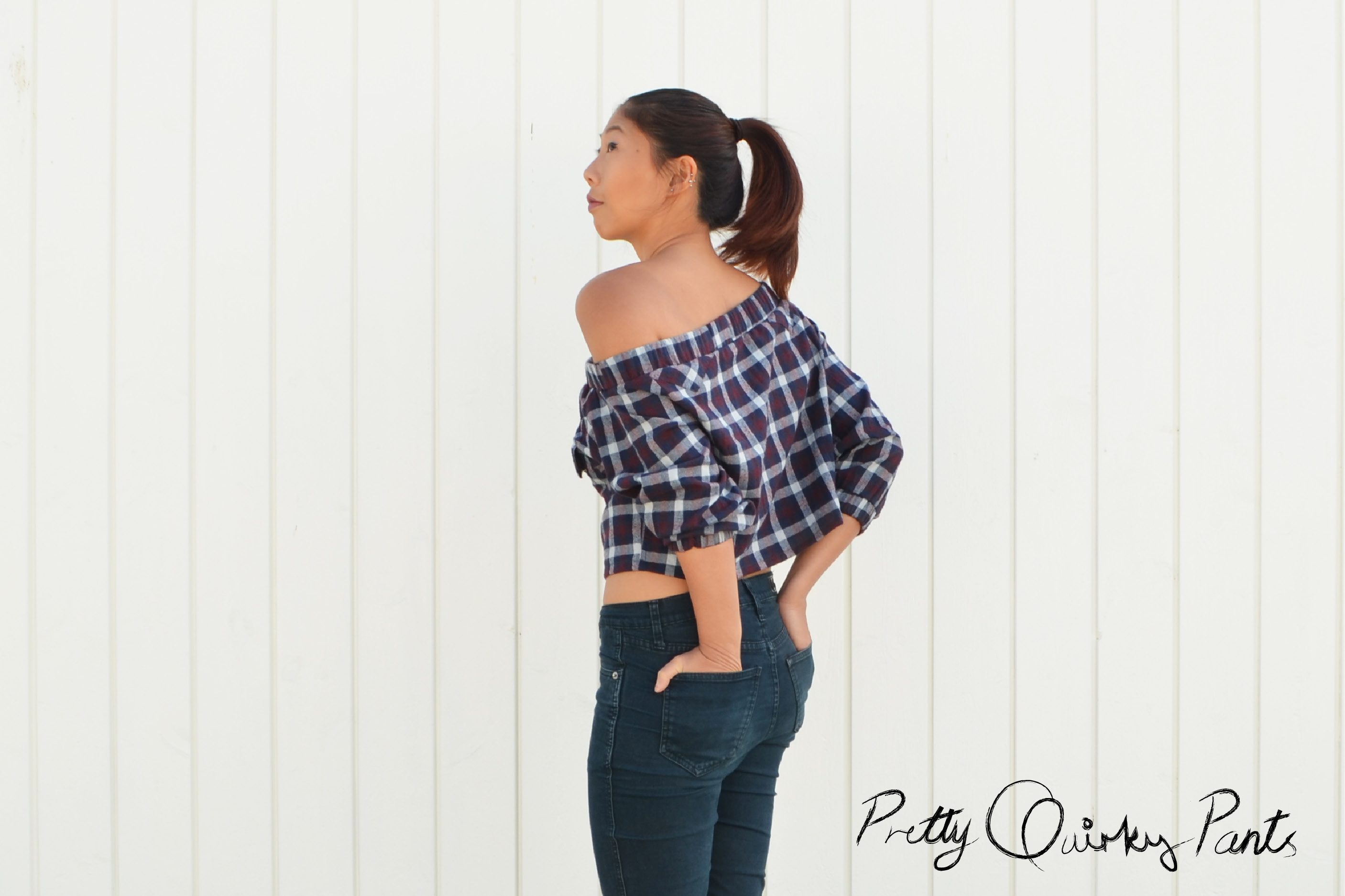 off shoulder plaid top3