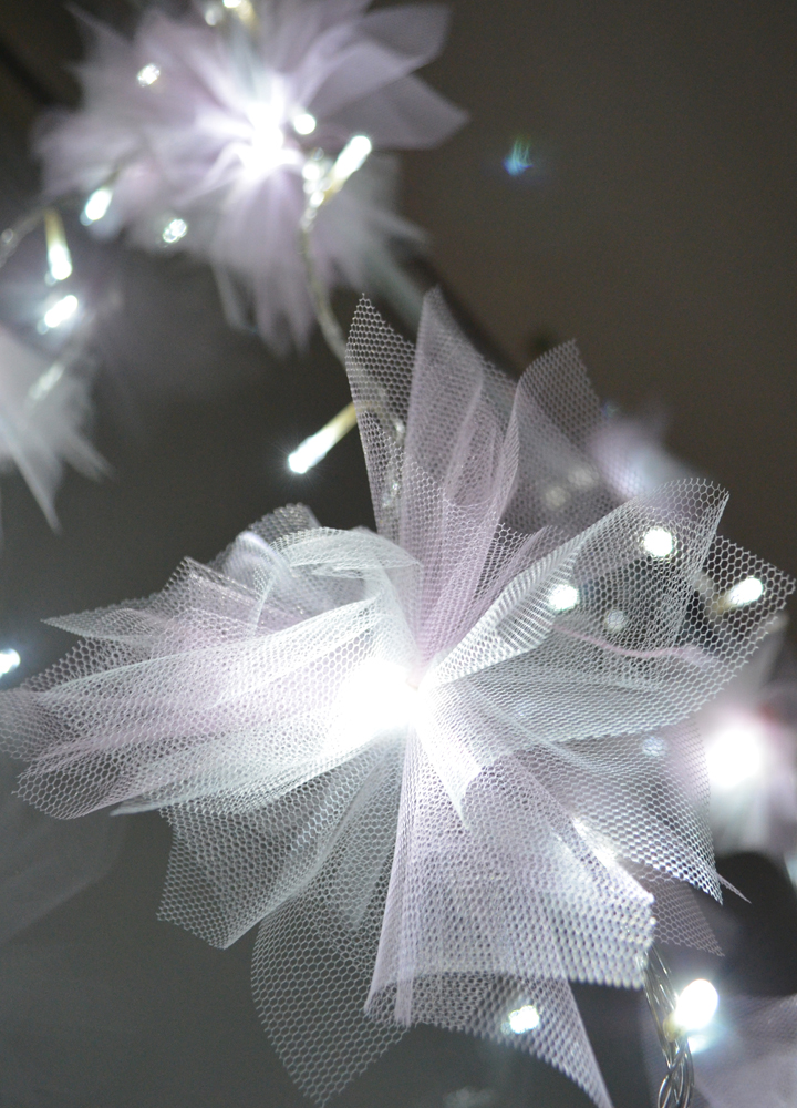 Pretty Quirky Pants | DIY Tulle Flower Fairy Lights