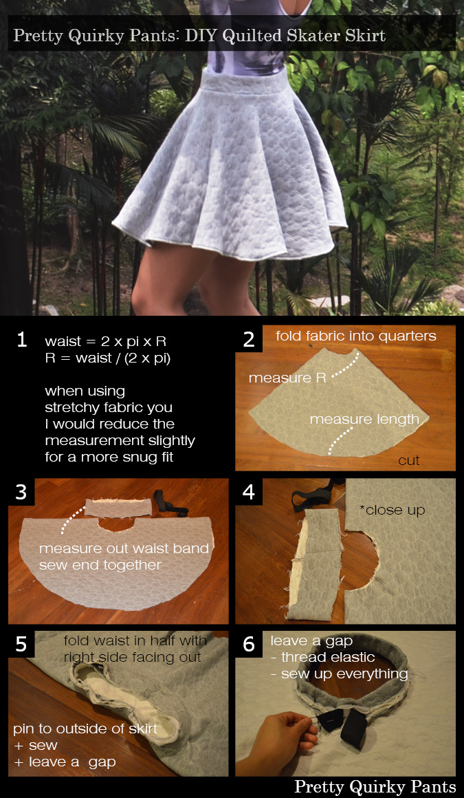 Instruction Layout - quilted skater skirt