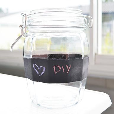 diy chalk board labelled jar