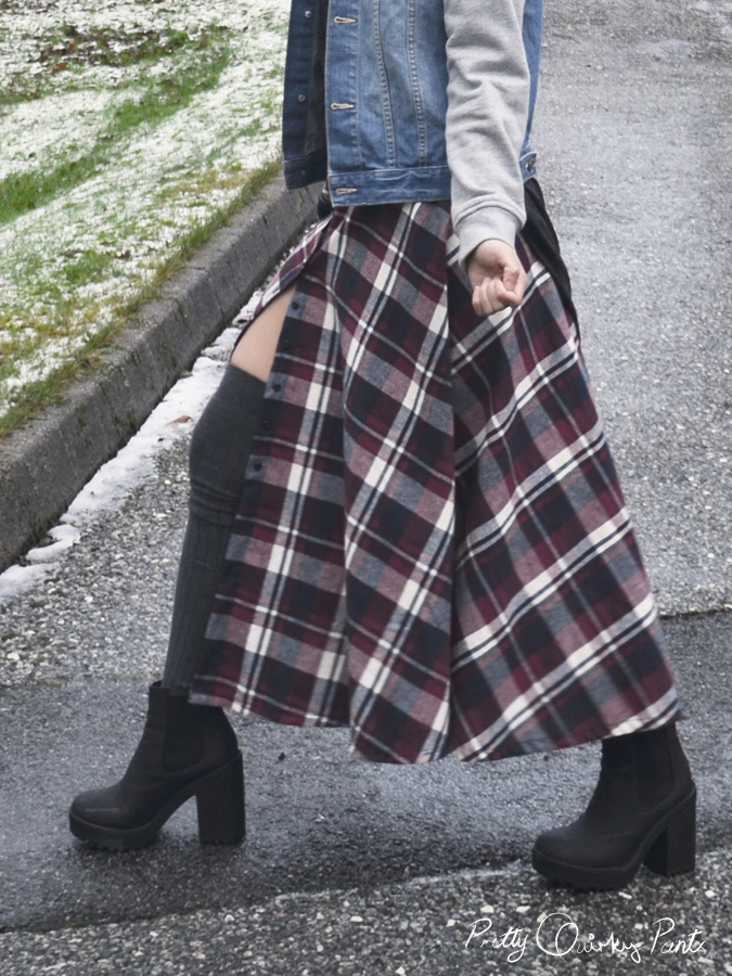 plaid maxi skirt 1