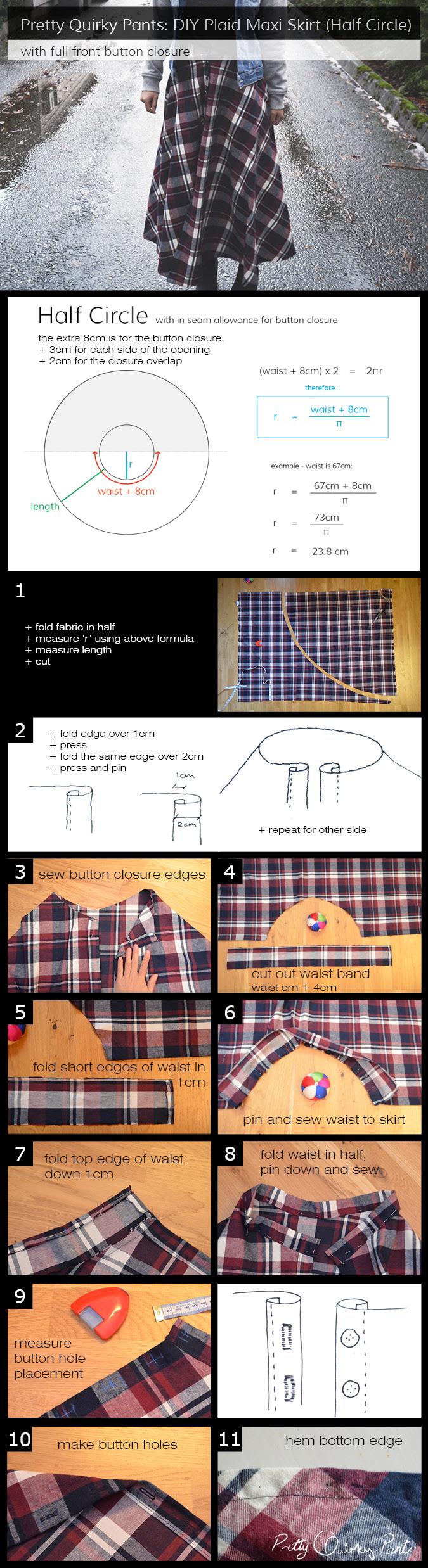 Instruction Layout - plaid maxi skirt