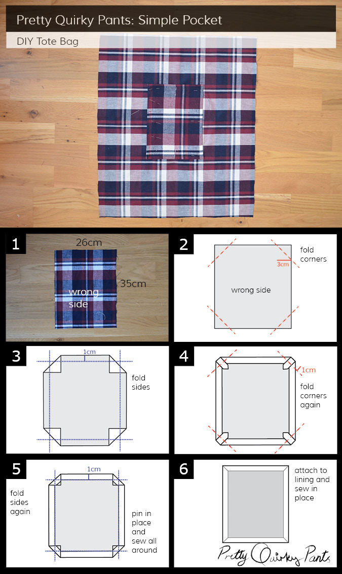 Instruction Layout - tote bag simple pocket