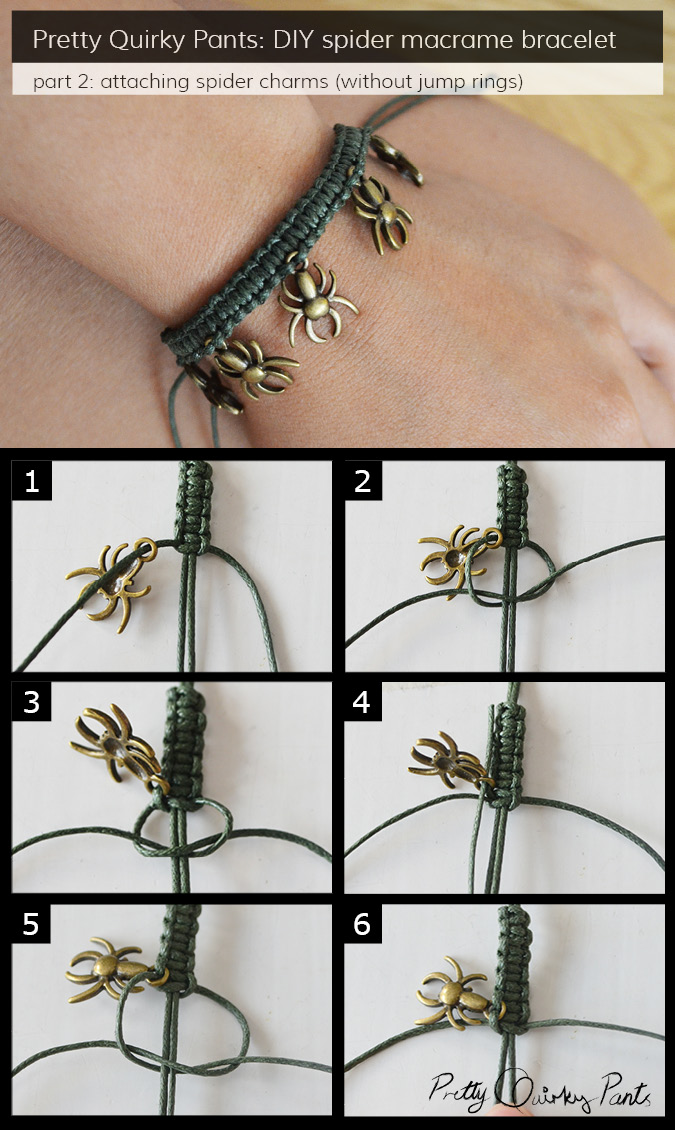 Instruction Layout - macrame spider charm bracelet 2