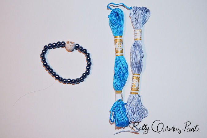 diy stretch bead tassle bracelet tools