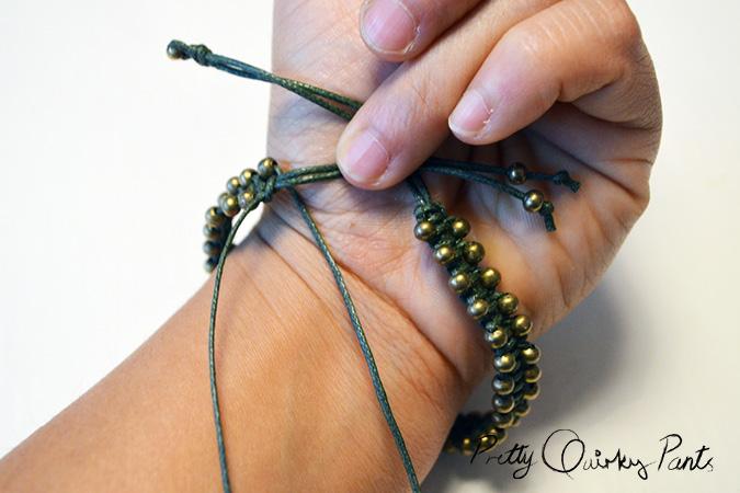 macrame beaded bracelet finish