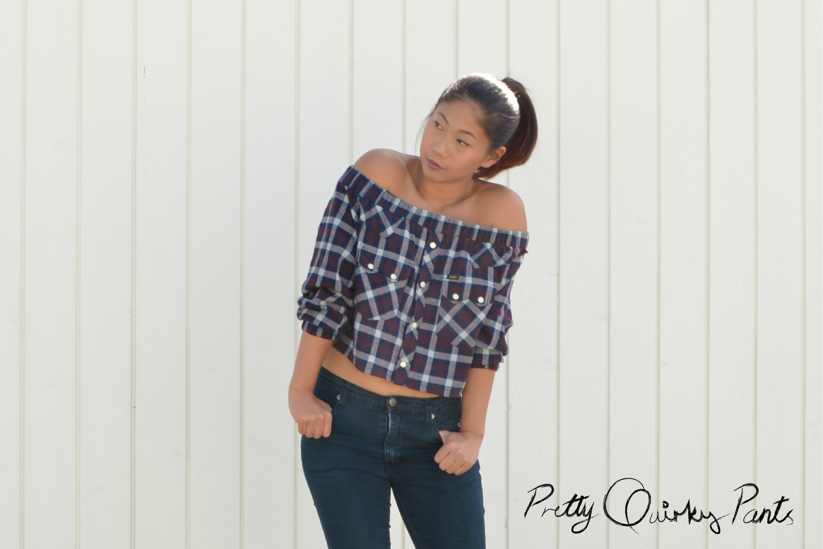 off shoulder plaid top5